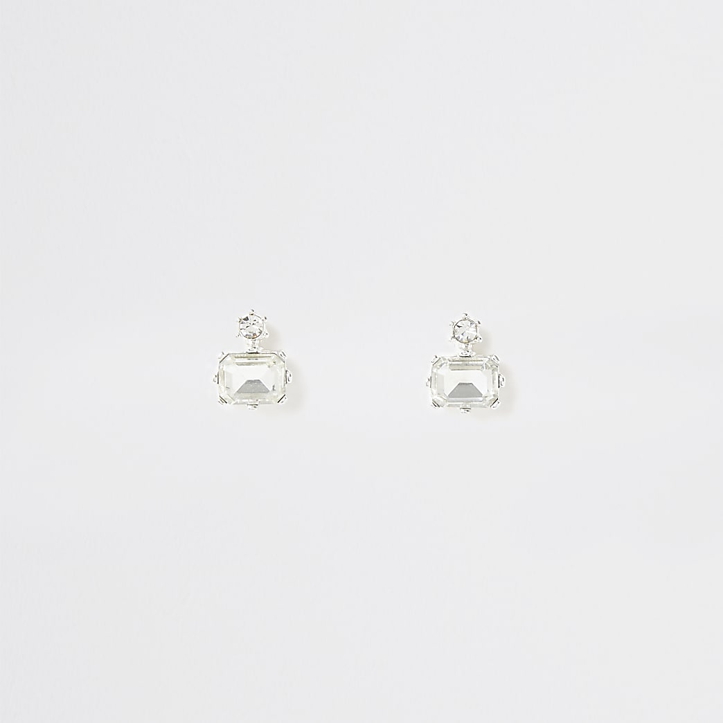 Silver colour diamond shape stud earrings