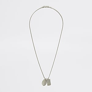 Silver colour dog tag pendant necklace