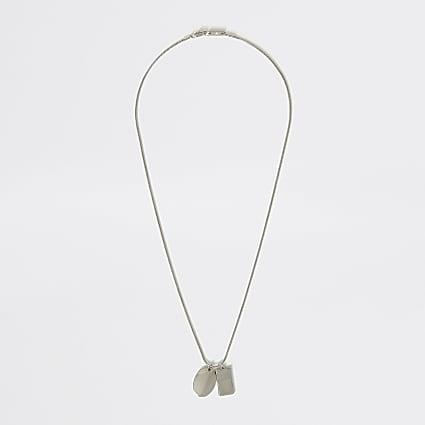 Silver colour dog tag pendant necklace