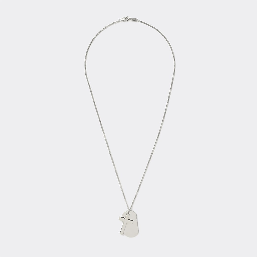 Silver colour dogtag and cross necklace