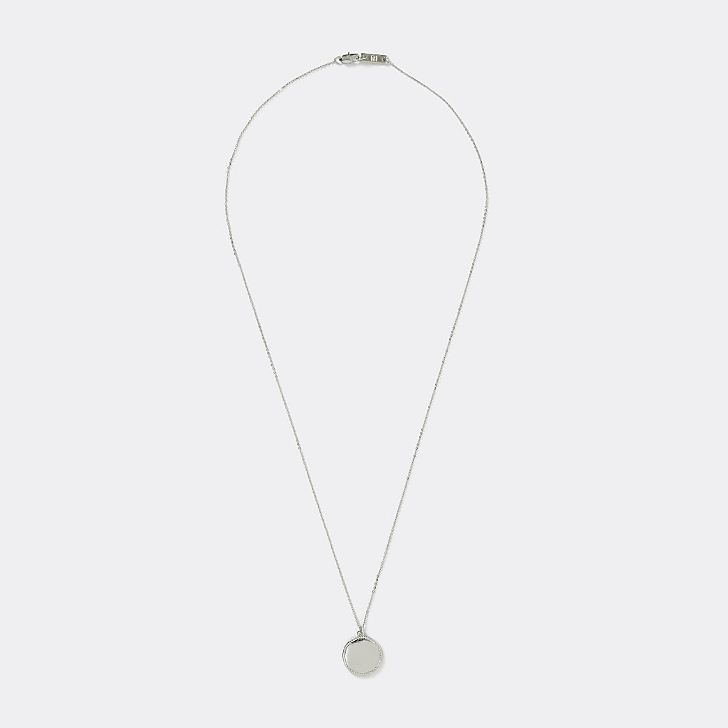 Silver colour embossed pendant necklace