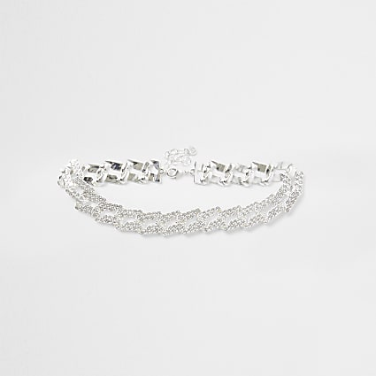 Silver colour encrusted choker necklace