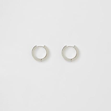 Silver colour engraved hoop earrings