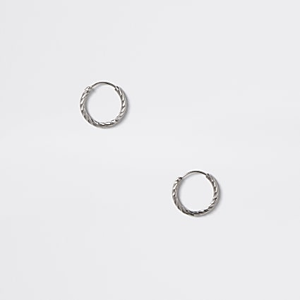 Silver colour etched hoop earrings
