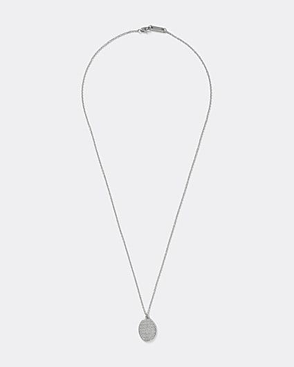 Silver colour etched oval pendant necklace