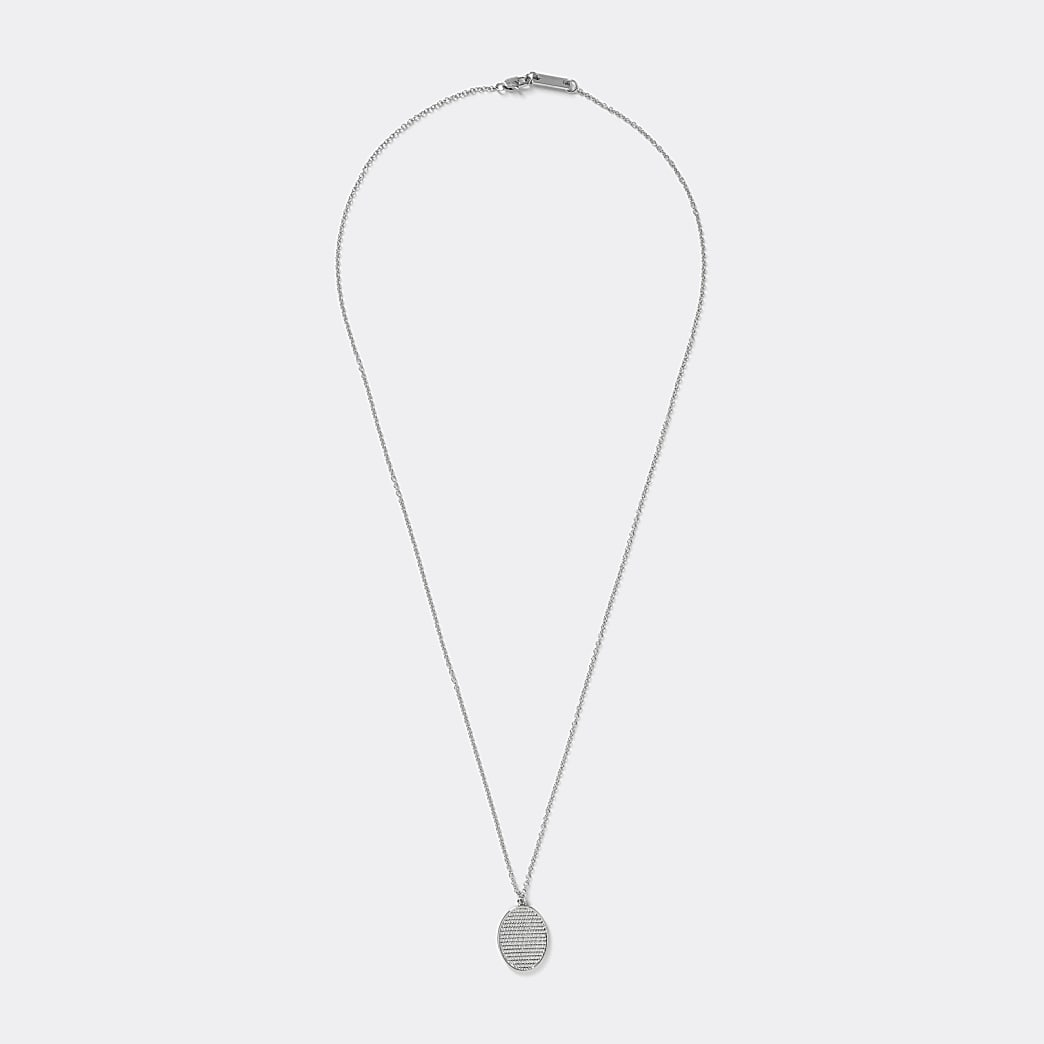 Silver colour etched oval pendant necklace