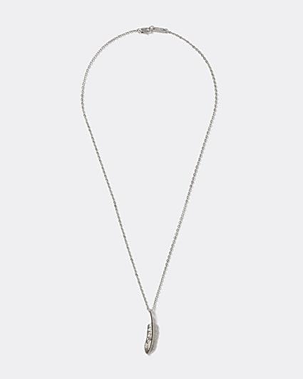 Silver colour feather pendant necklace