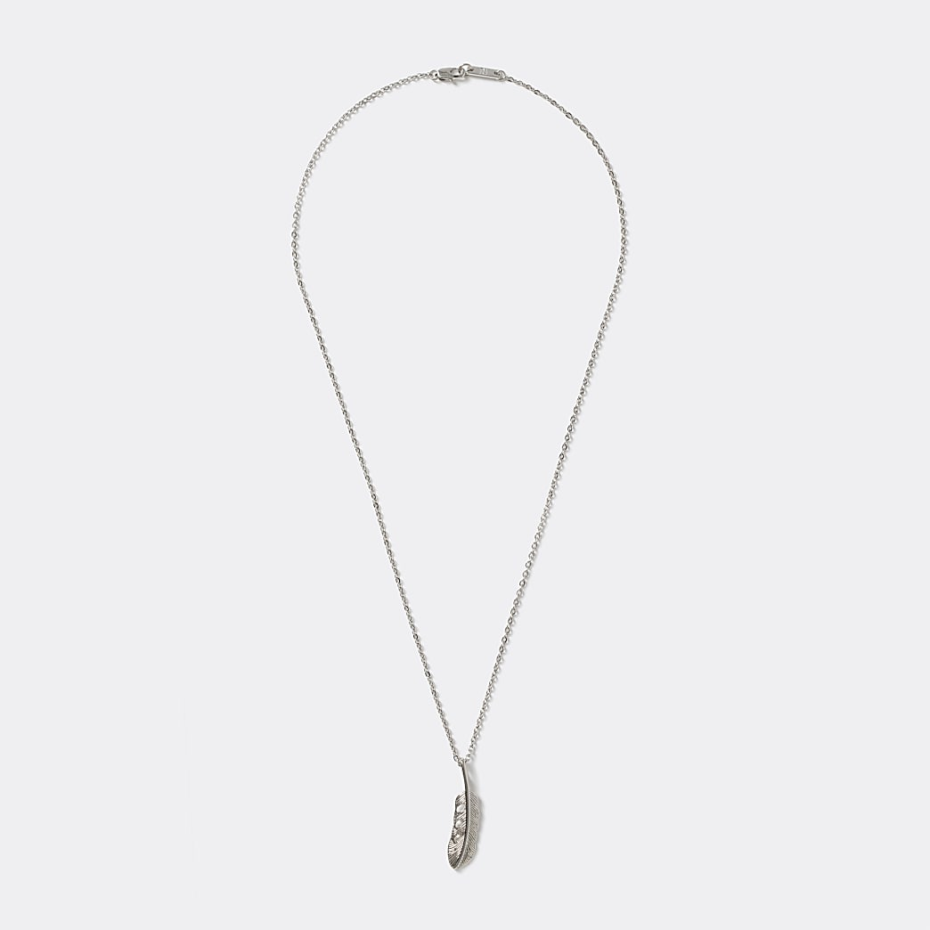 Silver colour feather pendant necklace