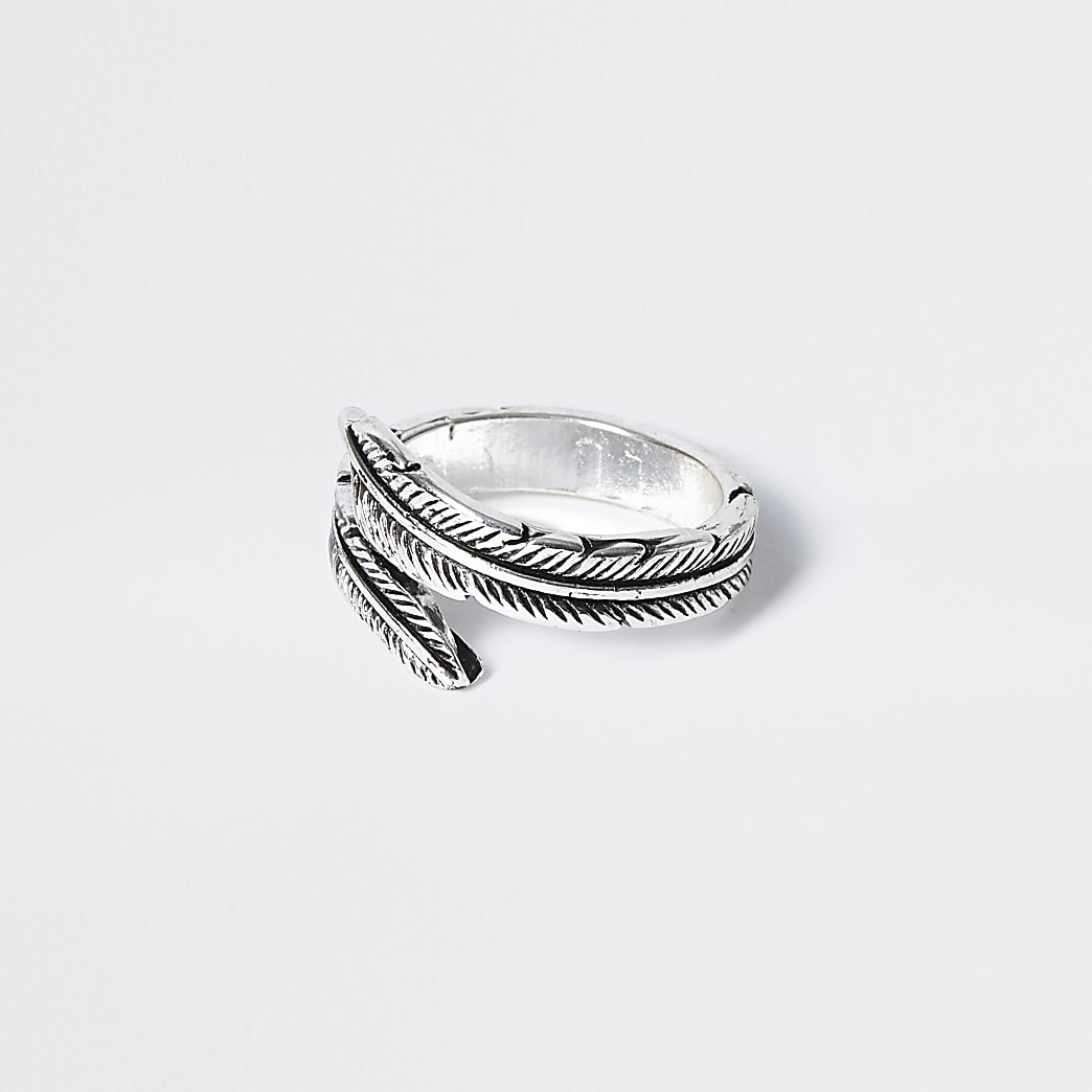 Silver colour feather wrap ring