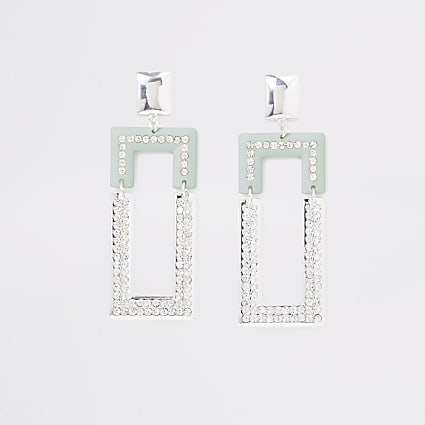 Silver colour green rectangle drop earrings