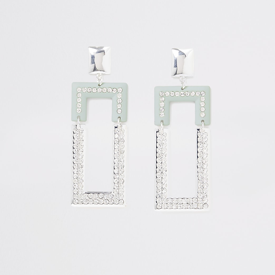Silver colour green rectangle drop earrings