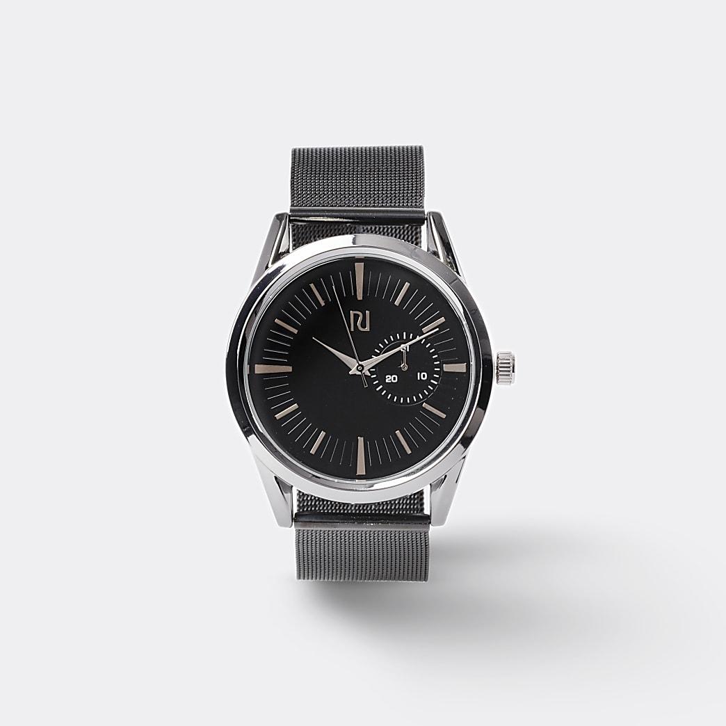 Silver colour grey mesh strap watch
