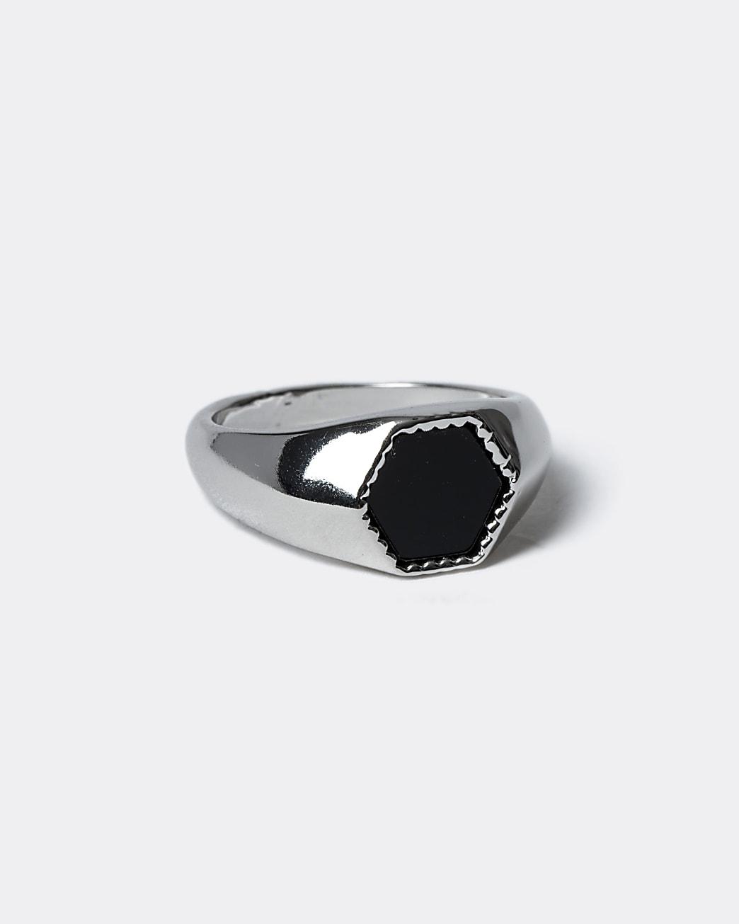 Silver colour hexagon ring