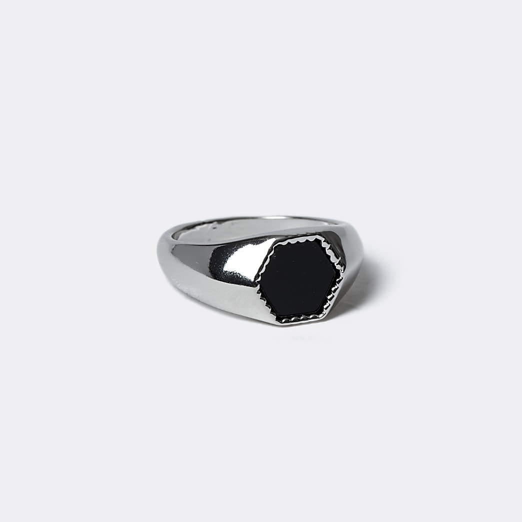 Silver colour hexagon ring