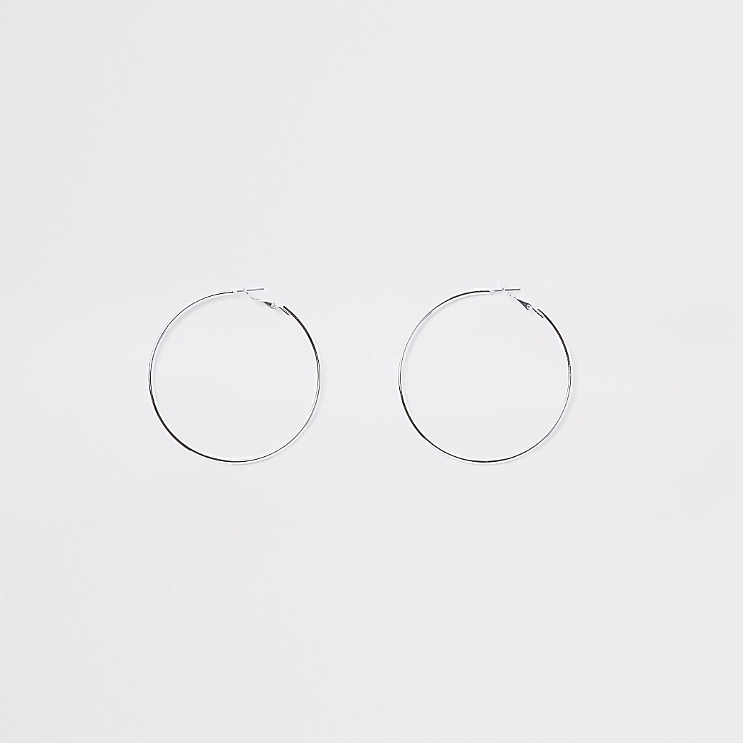 Silver colour hoop earrings