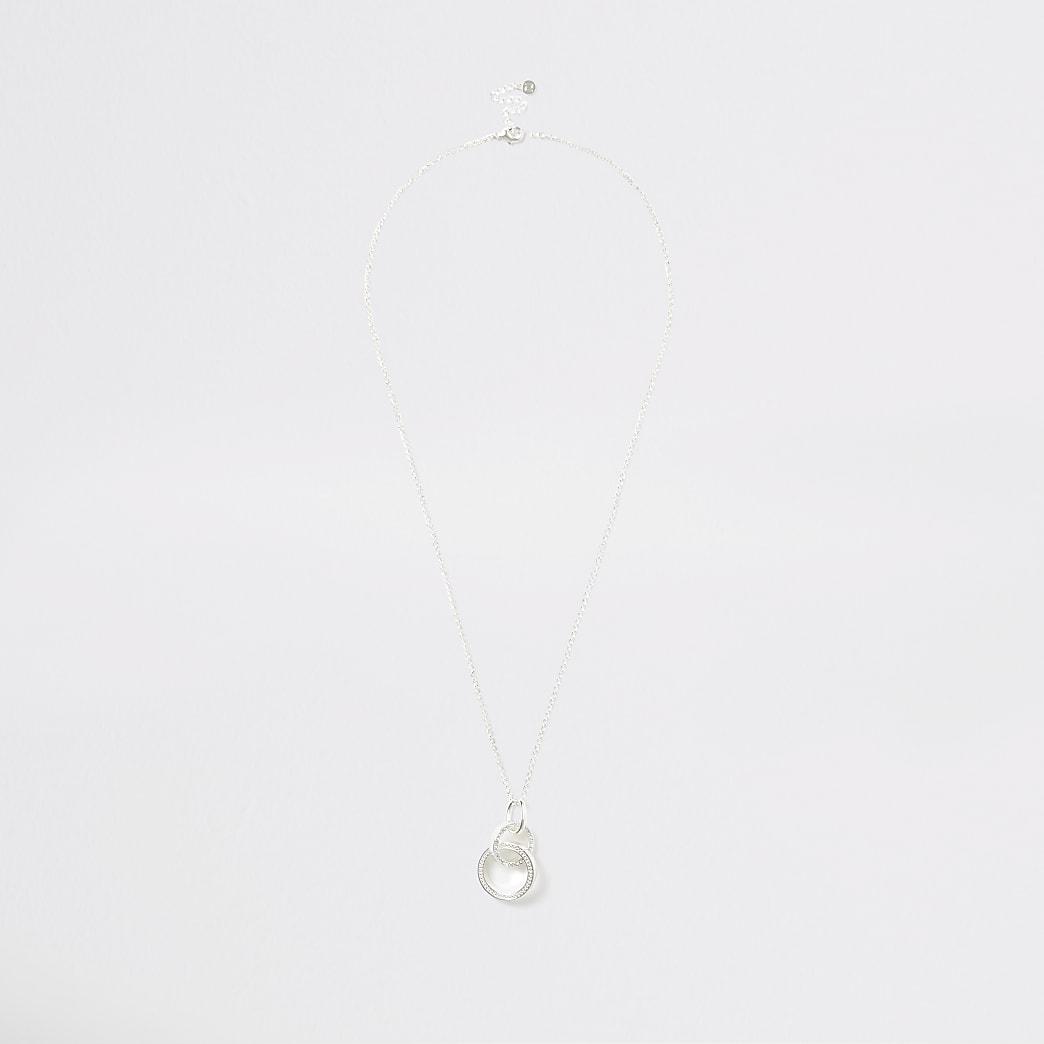 Silver colour interlinked pendant necklace