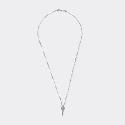 Silver colour key pendant necklace