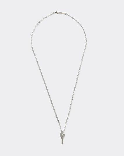 Silver colour key pendant necklace