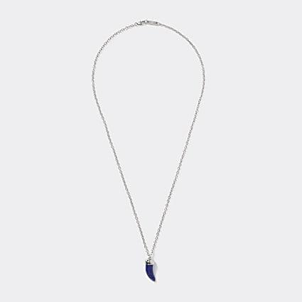 Silver colour Lapis stone tusk necklace