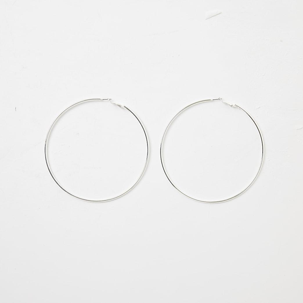 Silver colour large hoop earrings