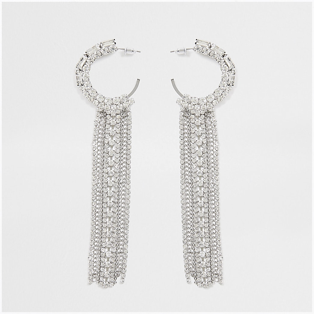 Silver colour layer tassel hoop earrings