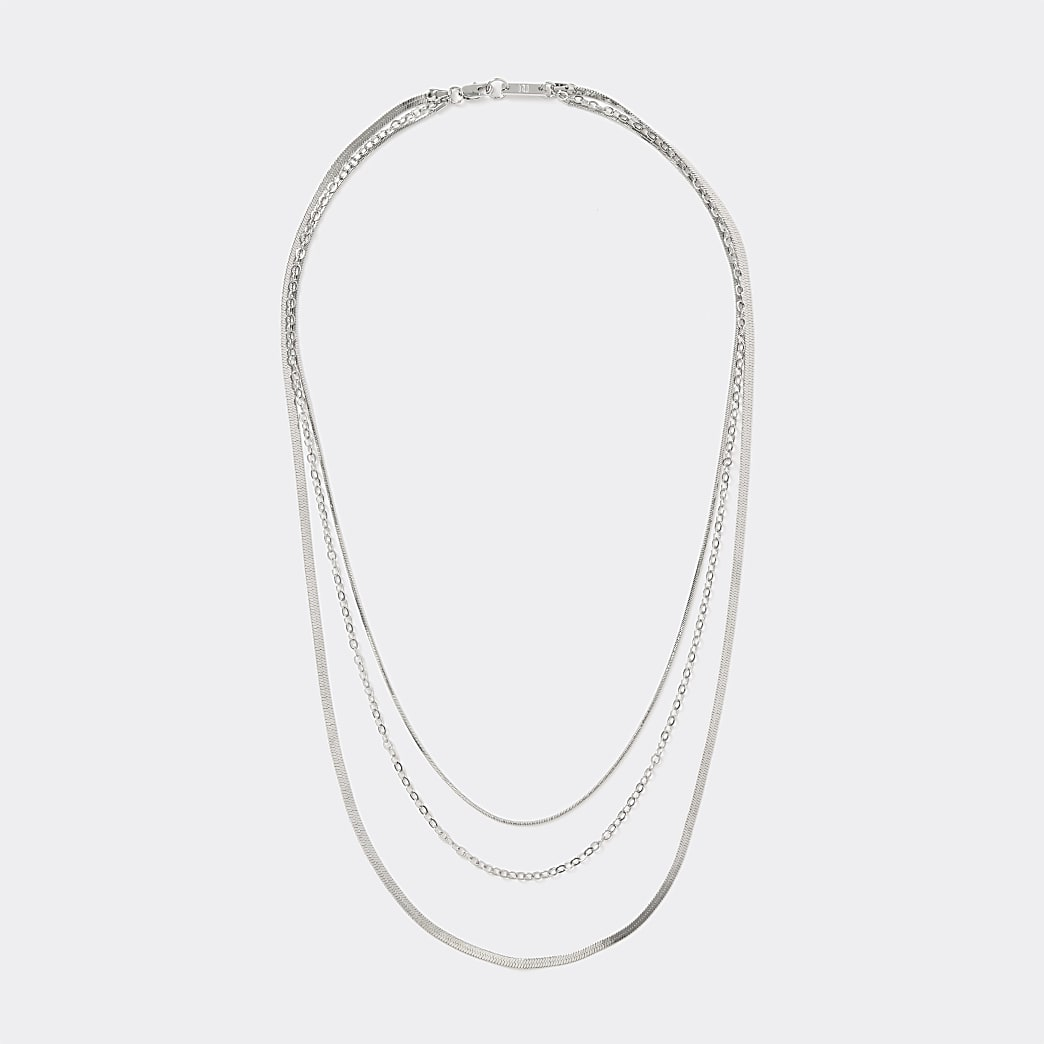 Silver colour layered chain necklace
