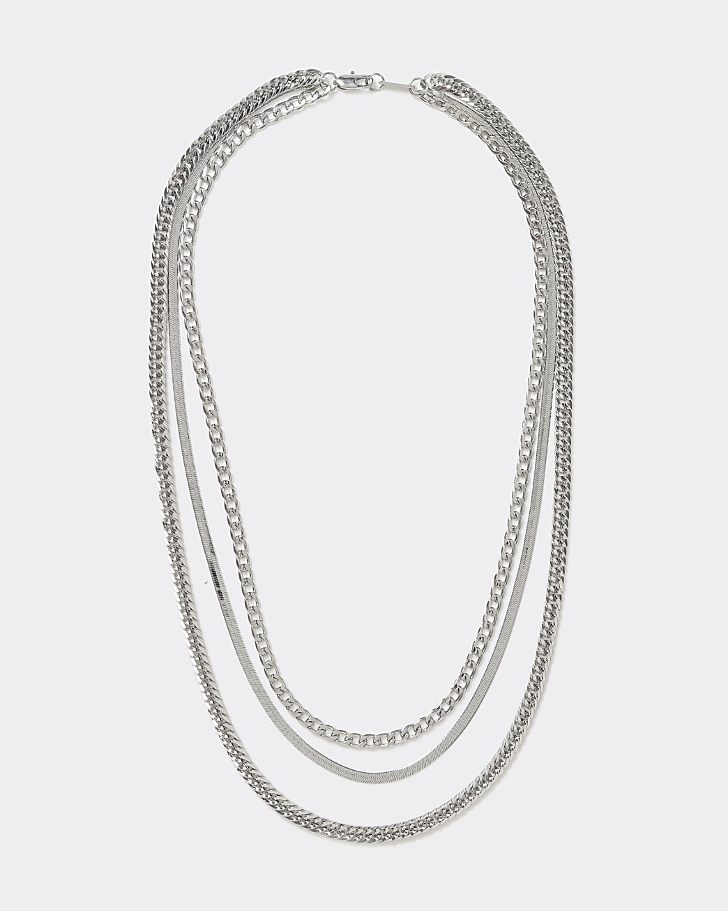 Silver colour layered three chain necklace