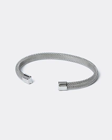 Silver colour mesh cuff bracelet