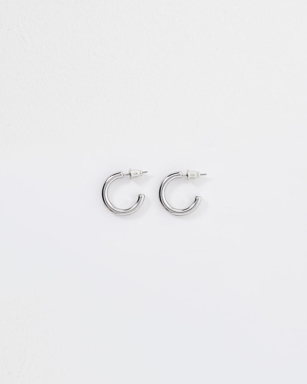 Silver colour mini chunky hoop earrings