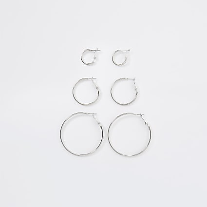 Silver colour mix size hoop earrings 3 pack
