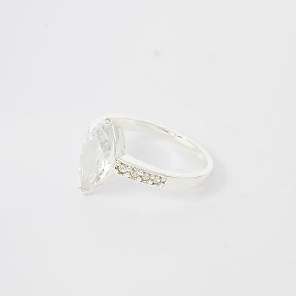 Silver colour navette diamante ring