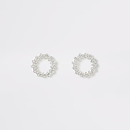 Silver colour open circle stud earrings