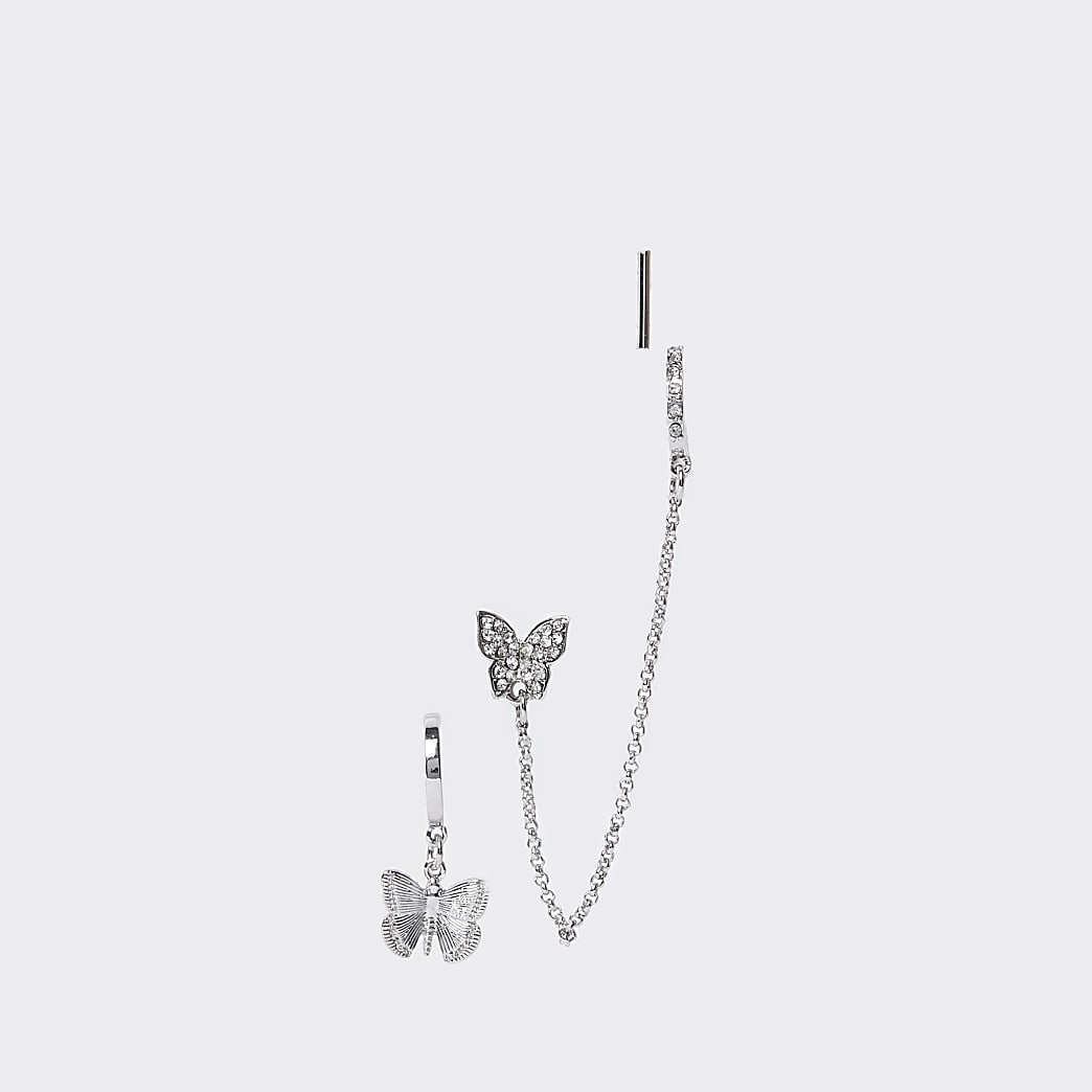 Silver colour pave butterfly earrings 3 pack