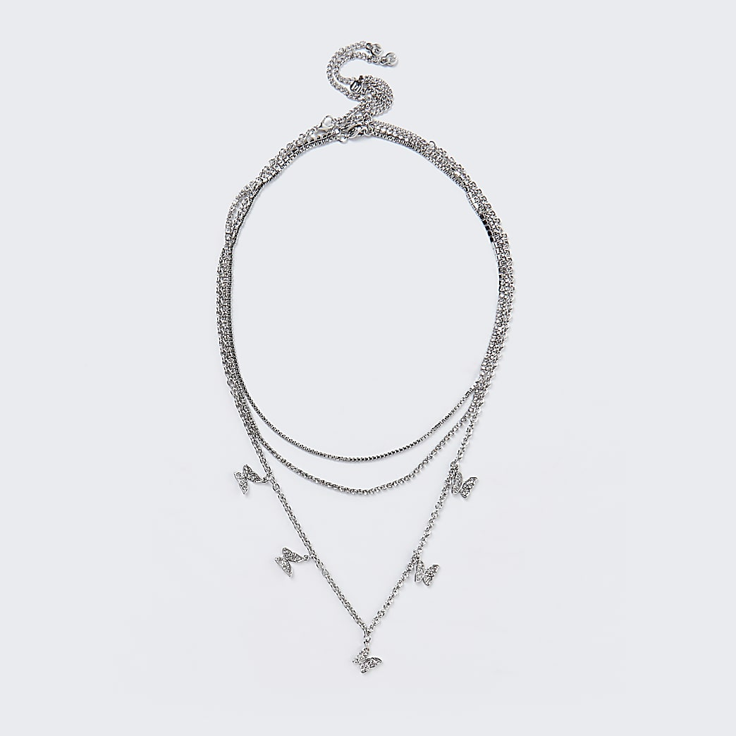 Silver colour pave butterfly layered necklace
