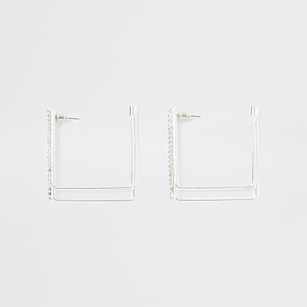 Silver colour paved square hoop earrings