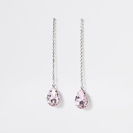 Silver colour pink stone tear drop earrings