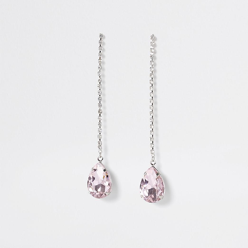 Silver colour pink stone tear drop earrings