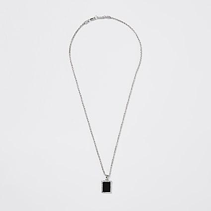 Silver colour rectangle pendant necklace