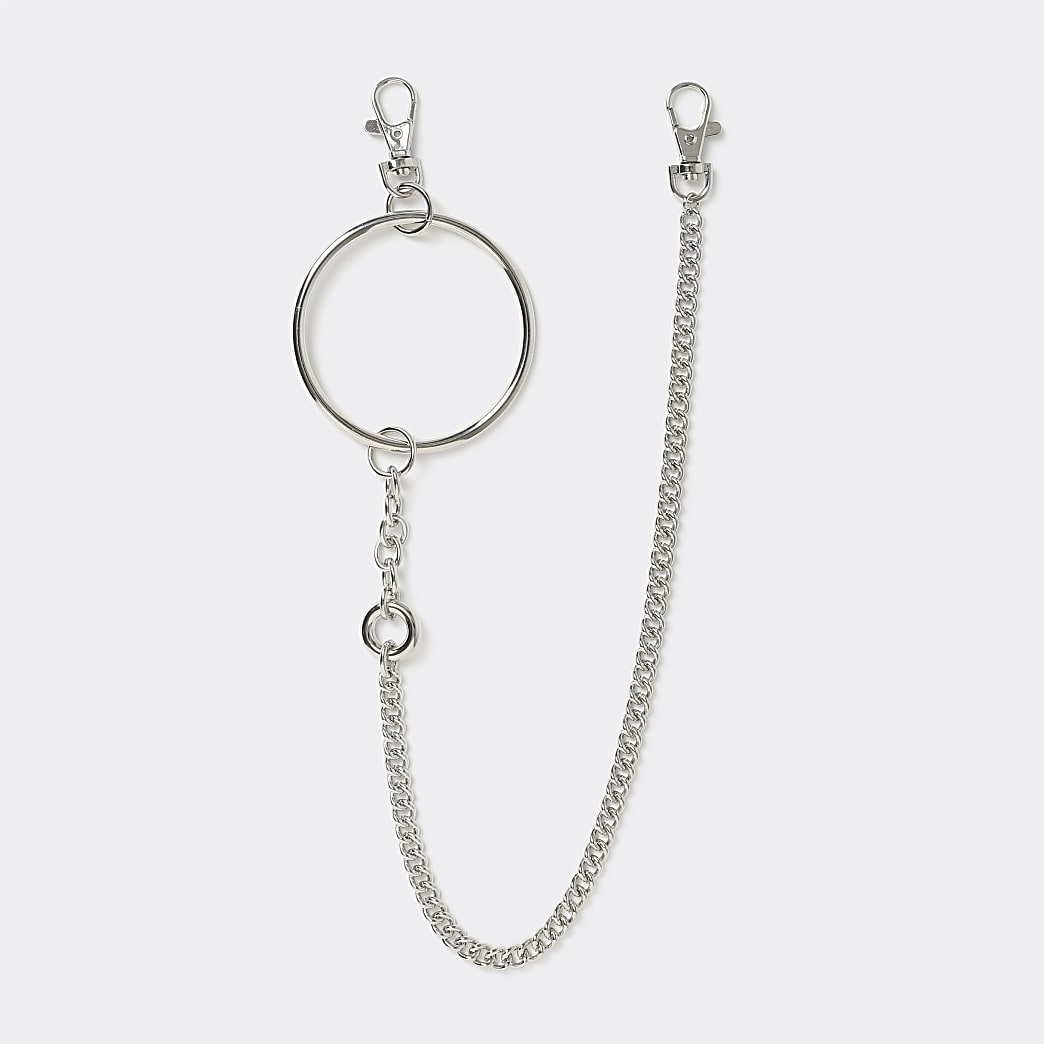 Silver colour ring wallet chain