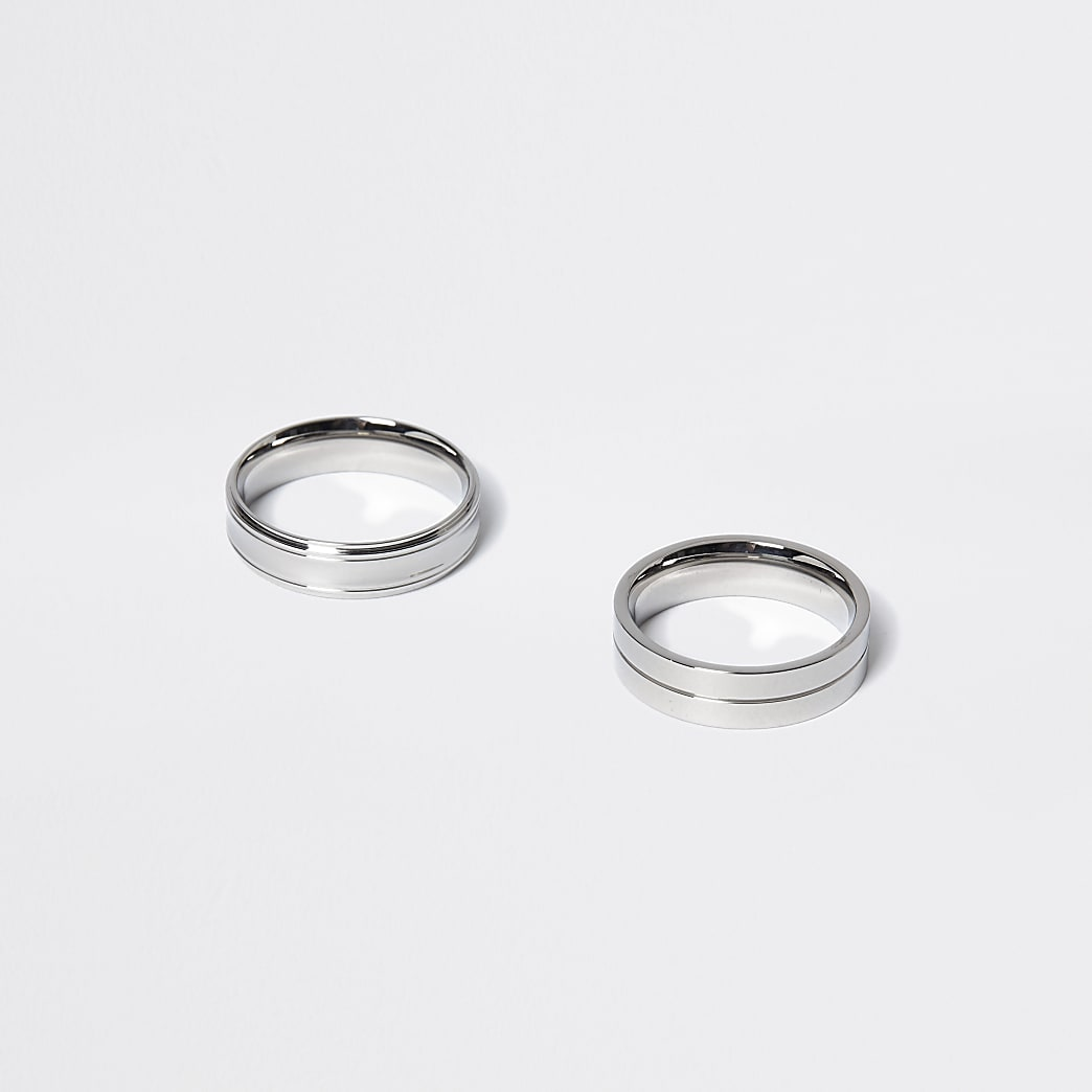 Silver colour rings 2 pack