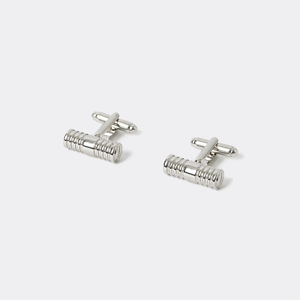 Silver colour screw embossed cuff links