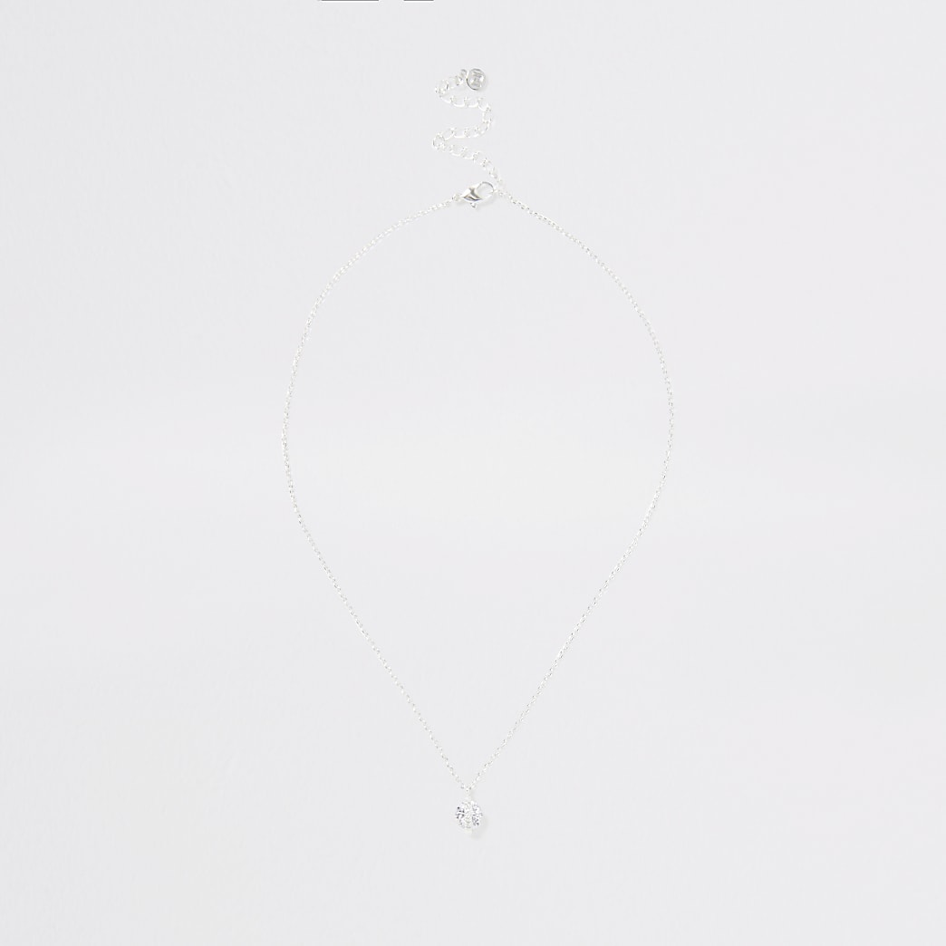 Silver colour short diamante necklace