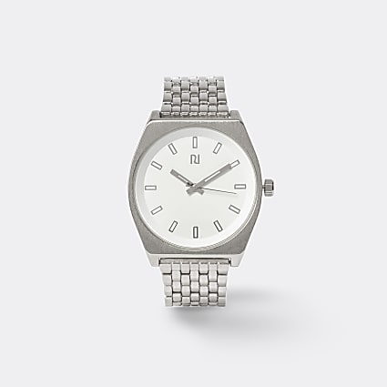 Silver colour slim link strap watch