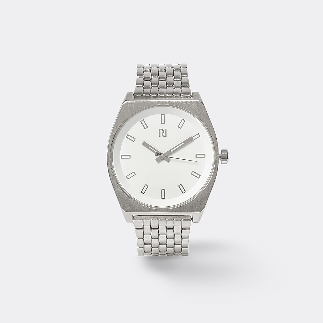 Silver colour slim link strap watch