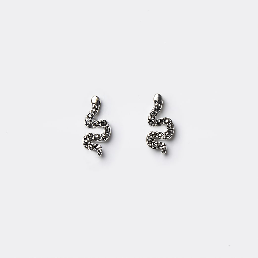 Silver colour snake stud earrings