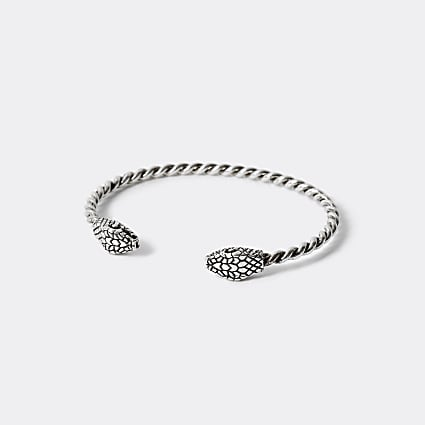 Silver colour snake twisted cuff bracelet