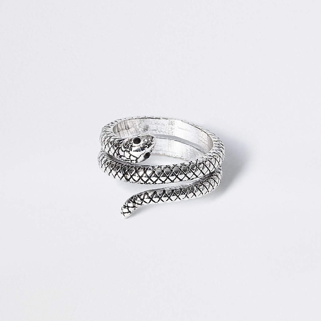 Silver colour snake wrap ring