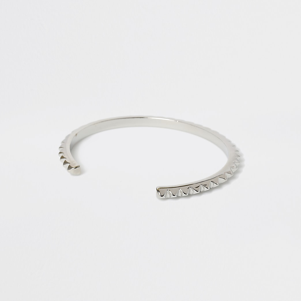 Silver colour spike cuff bracelet