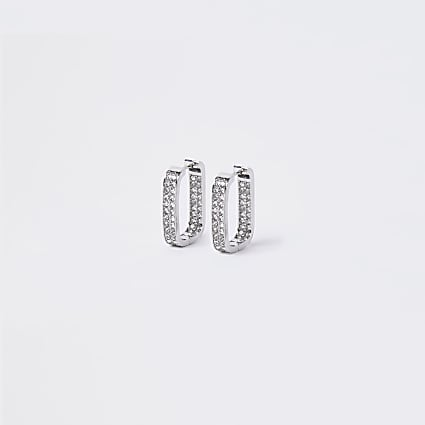 Silver colour square diamante hoop earrings
