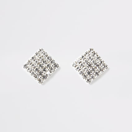 Silver colour square diamante stud earrings